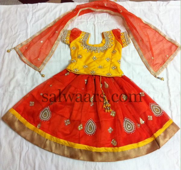 Orange Lehenga with Duppatta