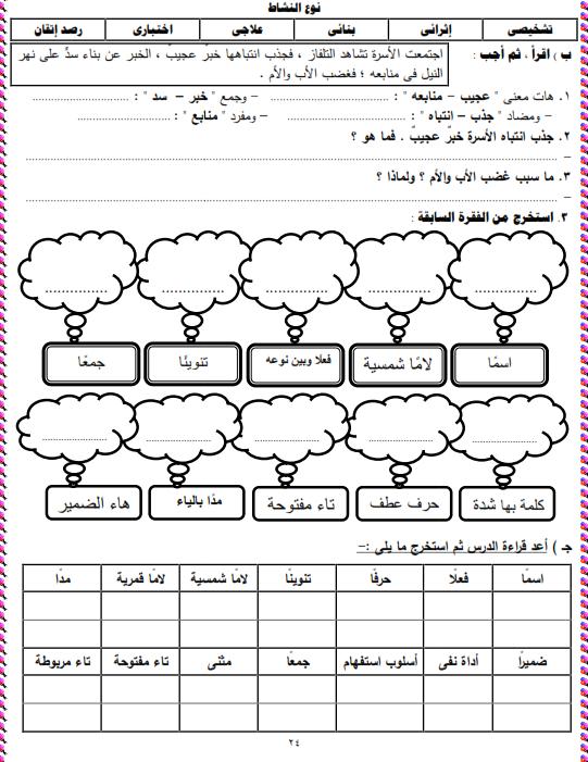 شيتات المجموعة المدرسية لمادة اللغة العربية للصف الثالث الابتدائى على هيئة صور للمشاهدة والتحميل The%2Bsecond%2Bunit%2B3%2Bprime_007