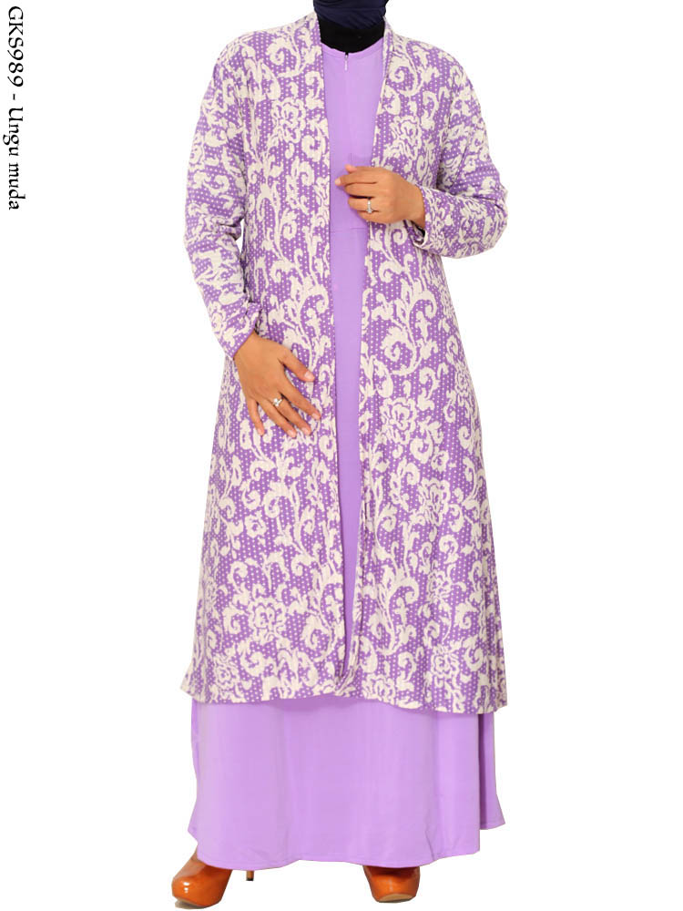 Gks989 Gamis Long Cardi Over All Cardigan Yukensi 2in1