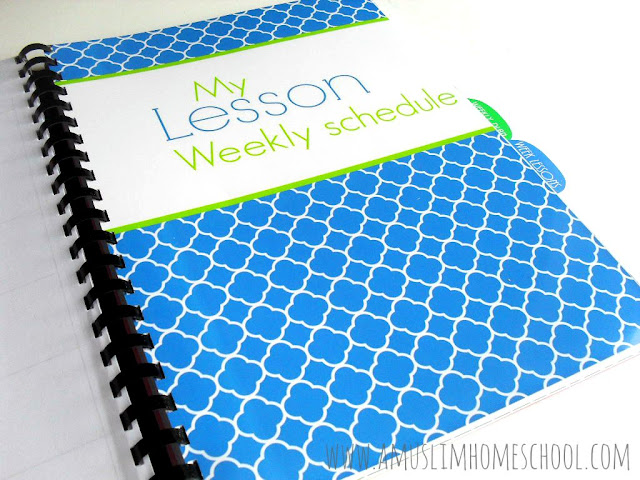 weekly lesson schedule divder for the Home School Planner