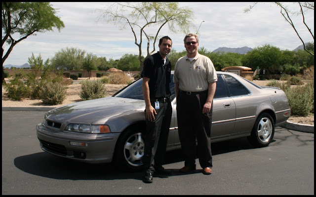 Tyson Hugie, Michael Hagerty and Tyson's 1994 Acura Legend Coupe in June 2009