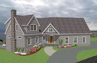 modelo fachada de vivienda americana tradicional