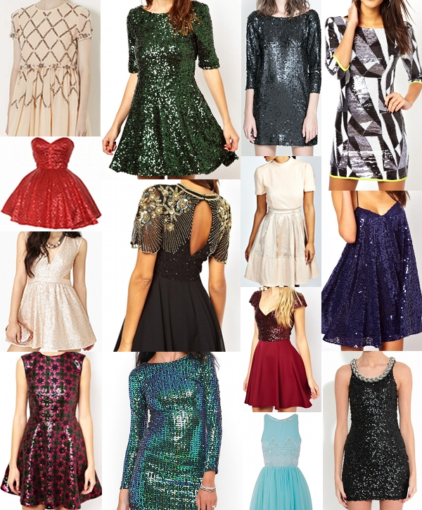 Sequin Dresses from Topshop, Nasty Gal, Boohoo, Asos, Zara, Missguided, Motel and Rare