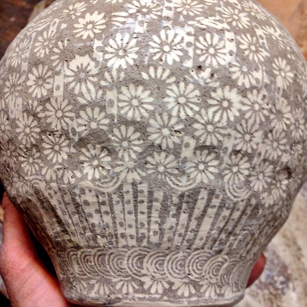 pottery, nc, wip, stamping, inlay, sanggam, mishima