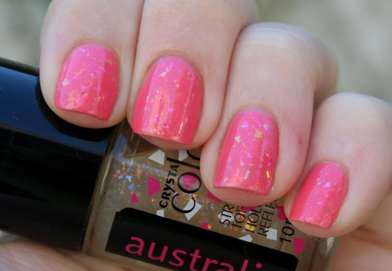 Australis Specktacular over Revlon Sublime Strawberry swatch