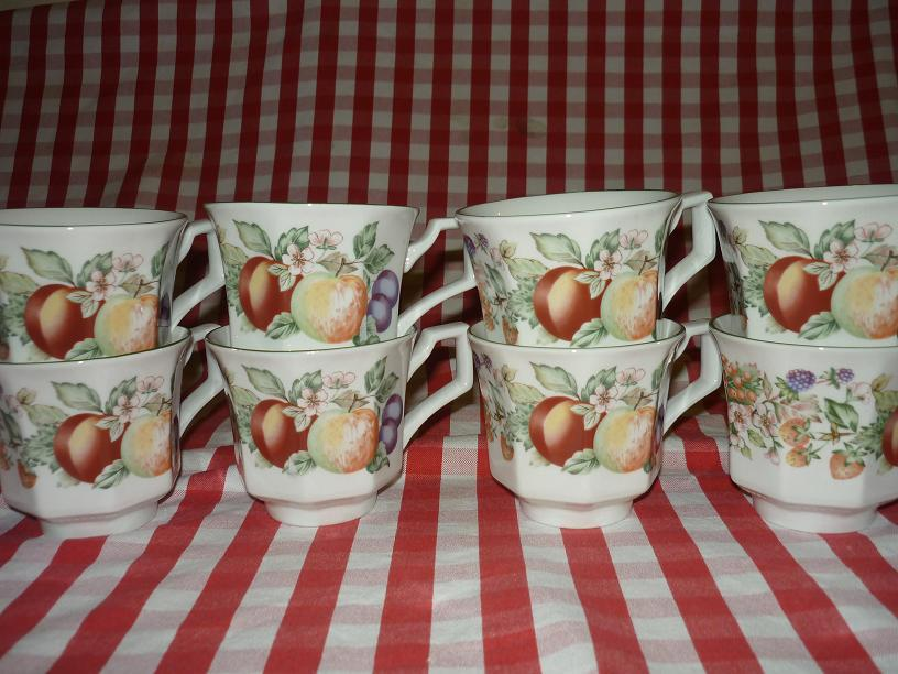Johnson Brothers Fresh Fruits 19 pcs Coffee set include 8 x cups 8 x saucers 1 x tall coffee pot 1 x milk jug 1 x sugar bowl. Interested pls email me. TQ & Vintage Teaware u0026 Collectibles