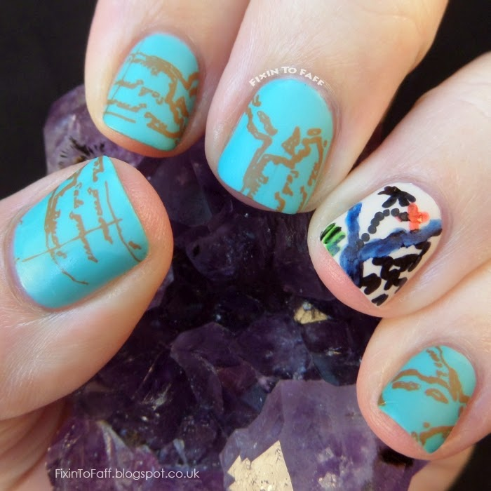 Pirate Treasure Map nail art for the Avast Ye Bilge Rats Pirate Nail Art Challenge Day 4.