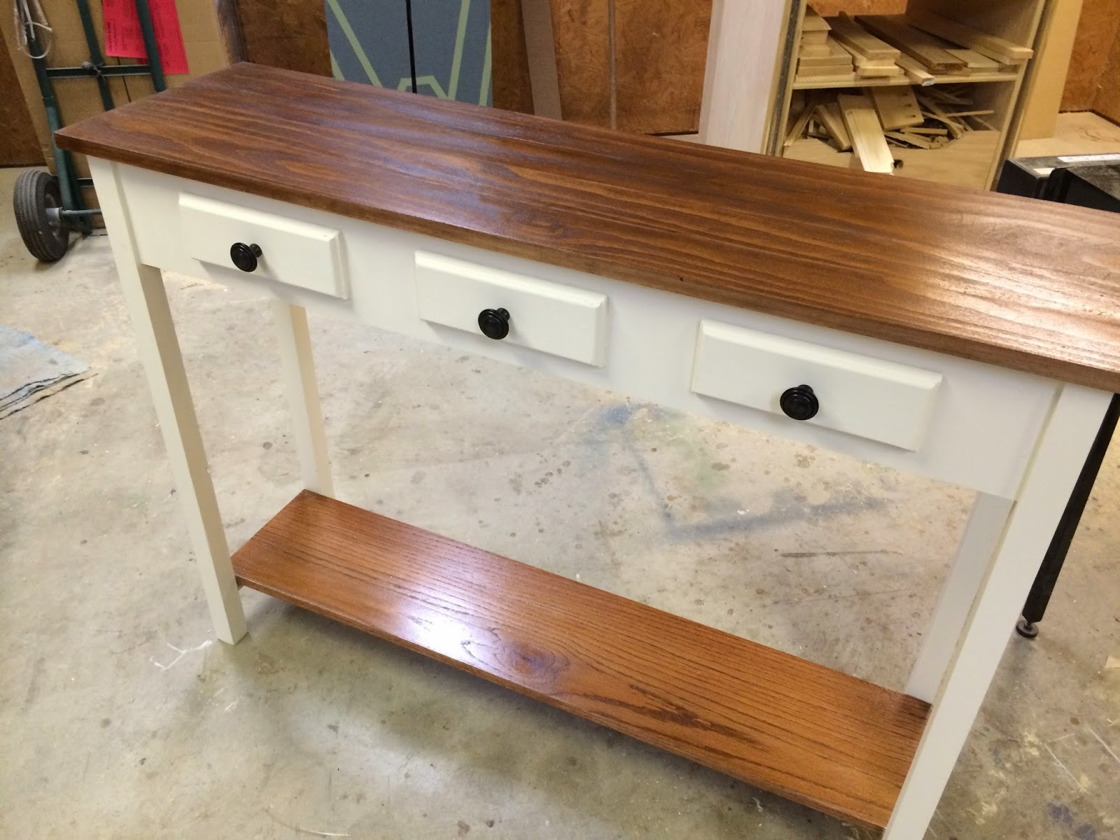 ... and batten in my entryway, I decided to build a simple entryway table