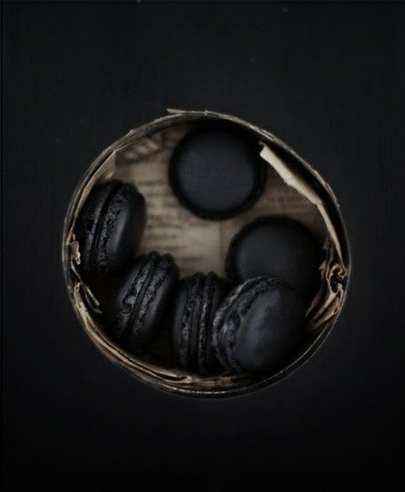 black, Halloween, black macaroons