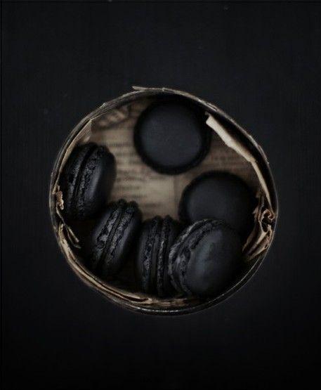 black, Halloween, black macaroons