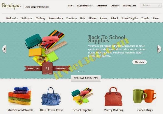 Boutique Blogger Template - mẫu blogspot cho Shop bán hàng cực đẹp