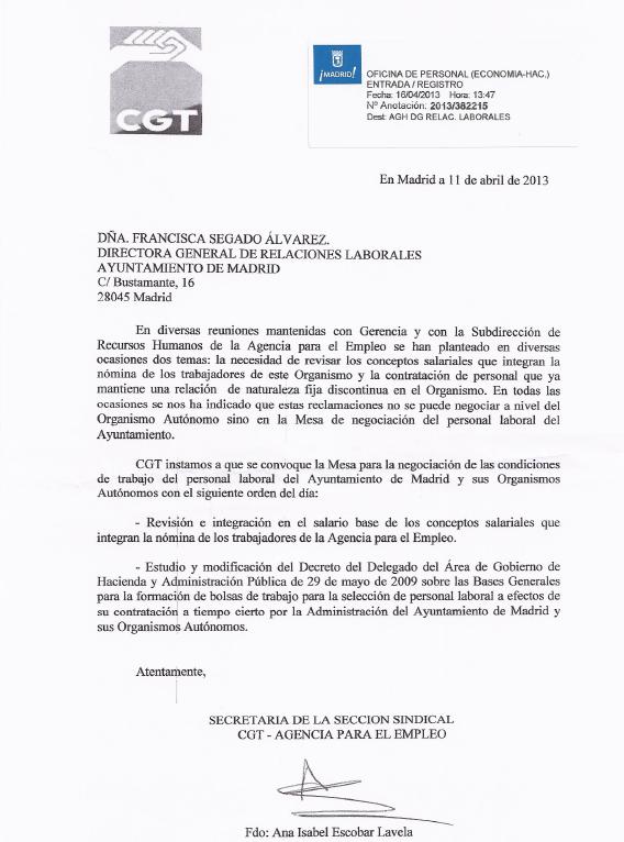 Cgt agencia para el empleo cgt ae madrid solicita for Agencia de empleo madrid