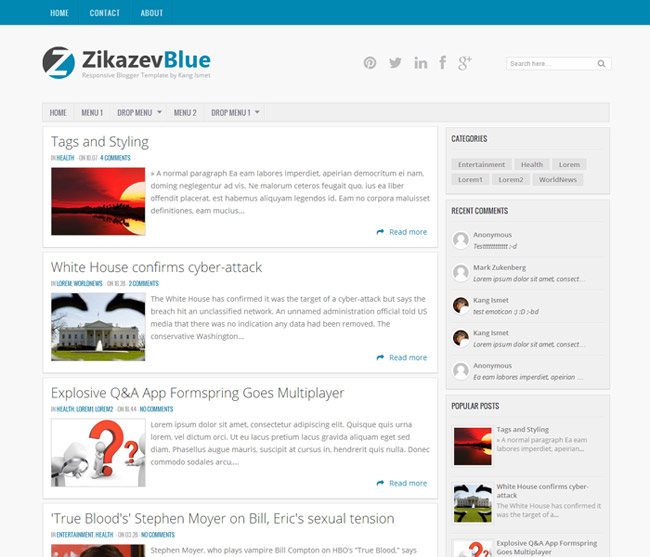 Zikazev+Blue+Responsive+Blogger+Template Top 5 Free Responsive Blogger Templates of the year 2013