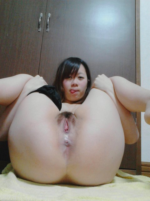 Chubby,but Really Cute Japanese girl shows her pink vagina and cow ...