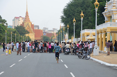 Death of King Norodom Sihanouk, first mourners at Royal Palace, Phnom Penh, Cambodia