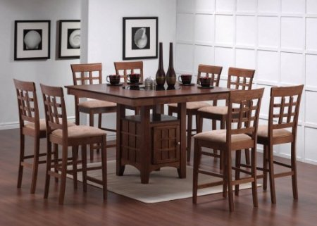 for 9pc cappuccino wood counter height dining table 8 chairs set