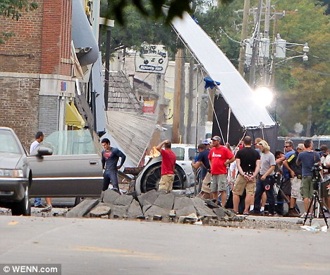Superman at movie set
