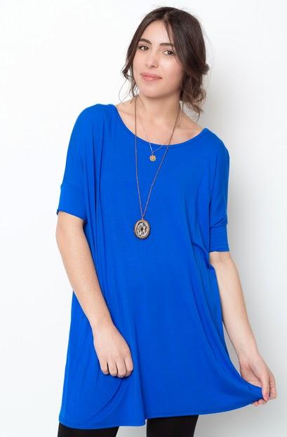 Buy online short sleeve  royal blue ballet sleeve tunic for women