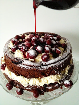 ... Happy New Year : Flourless Chocolate Chestnut Sour Cherry Truffle Cake