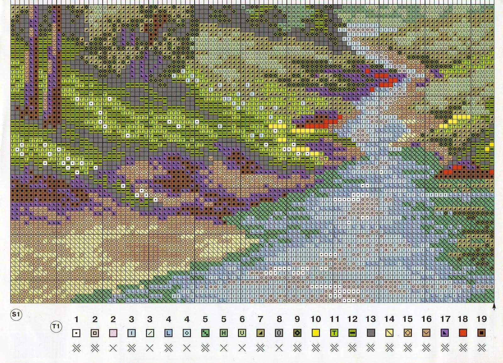 Схема вышивки риолис пейзажи 74