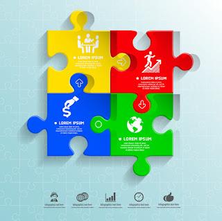 ジグソーパズル デザインのインフォグラフィックス Puzzle infographic イラスト素材