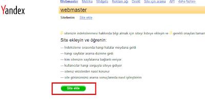 Yandex Site Ekleme Paneli