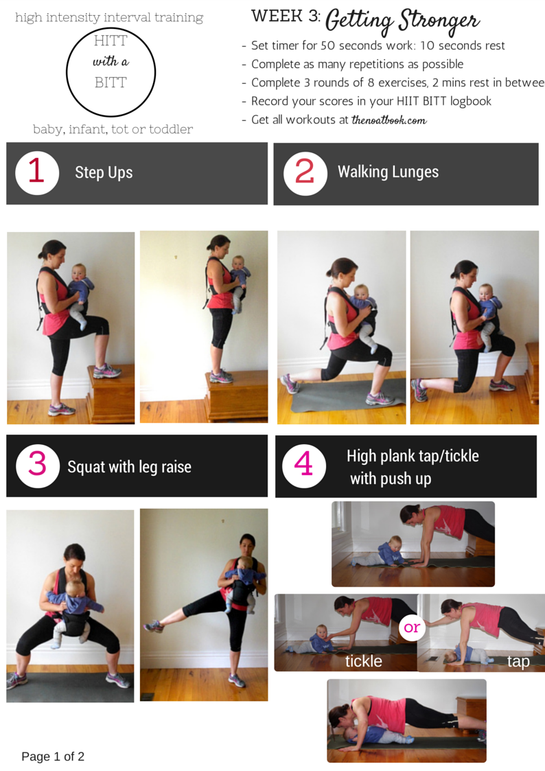 Workout with your baby HIIT with a BITT Week 3 photo guide