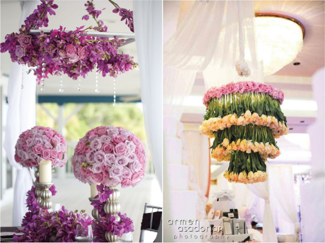 Suspended Wedding Centerpieces + Floral Chandeliers - Belle the