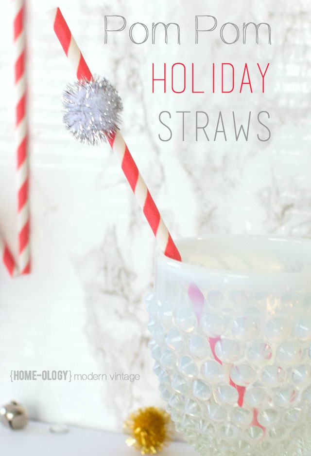 pom pom holiday straws