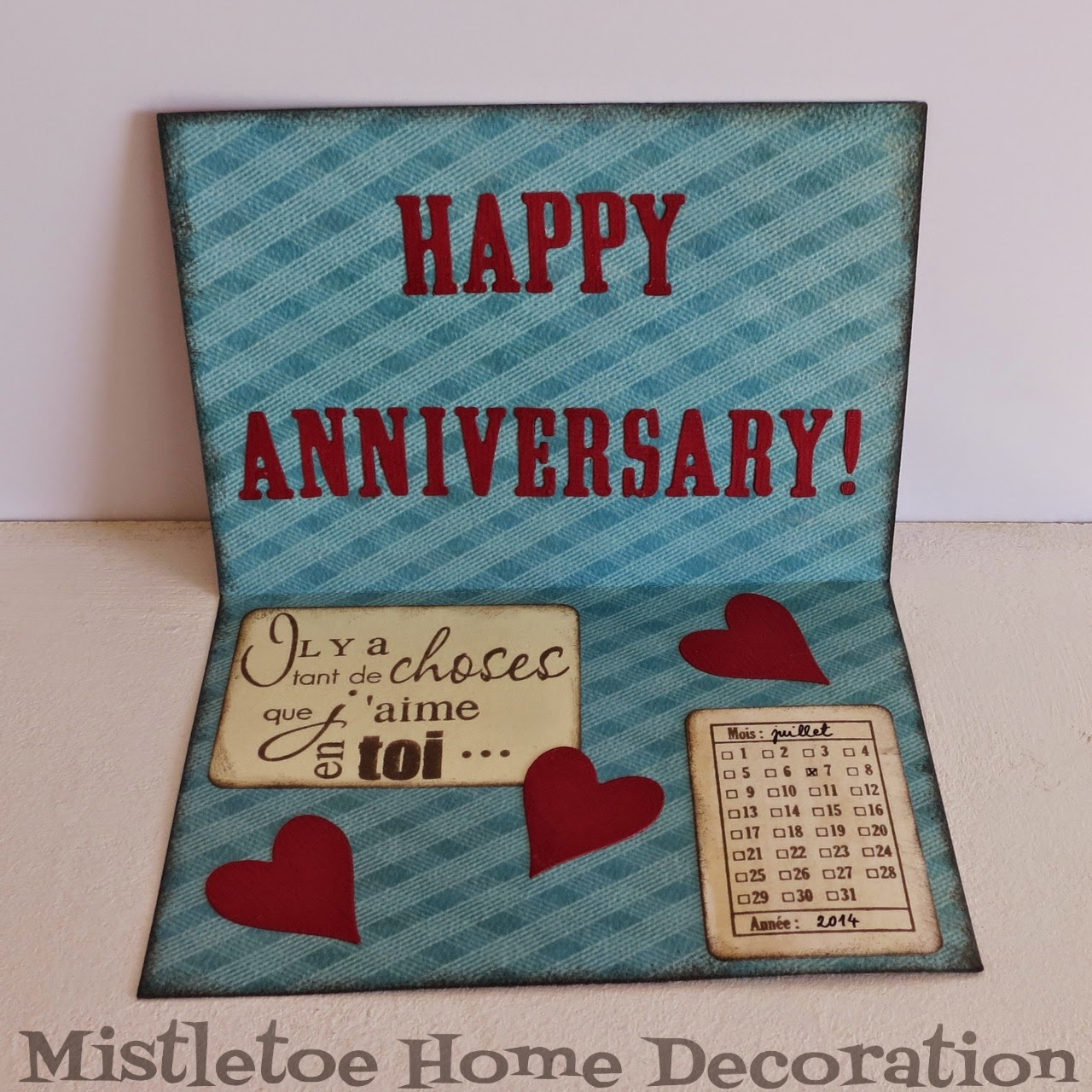 Mistletoe home decoration diy wedding anniversary card for Anniversary decoration at home