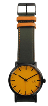 wristwatch - brown strap, orange face