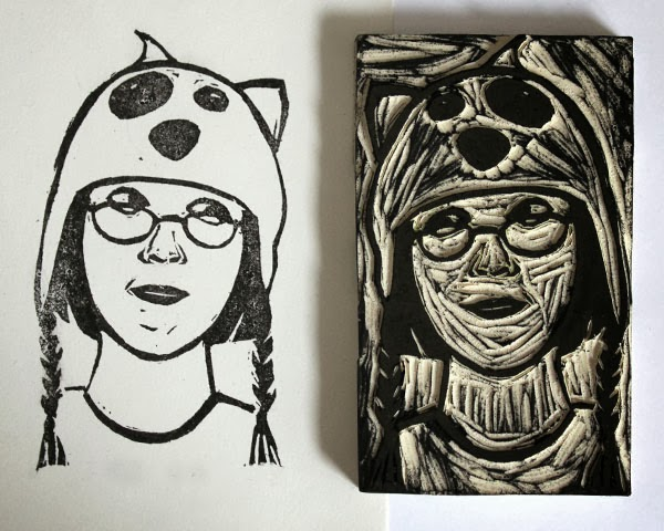 hand carved rubber stamp, girl in a silly dog hat