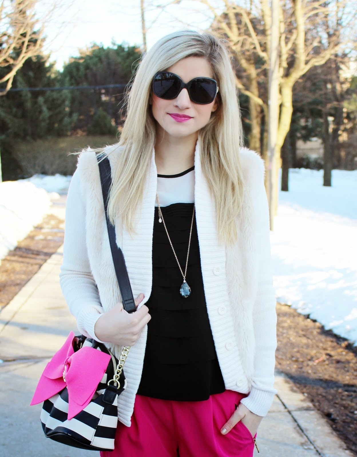 bijuleni,hot pink Zara pants,Betsey Johnson, big bow, Calvin Klein, fur, aldo