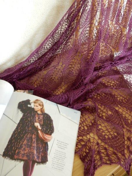 TE KOOP: alpaca silk sjaal, aubergine