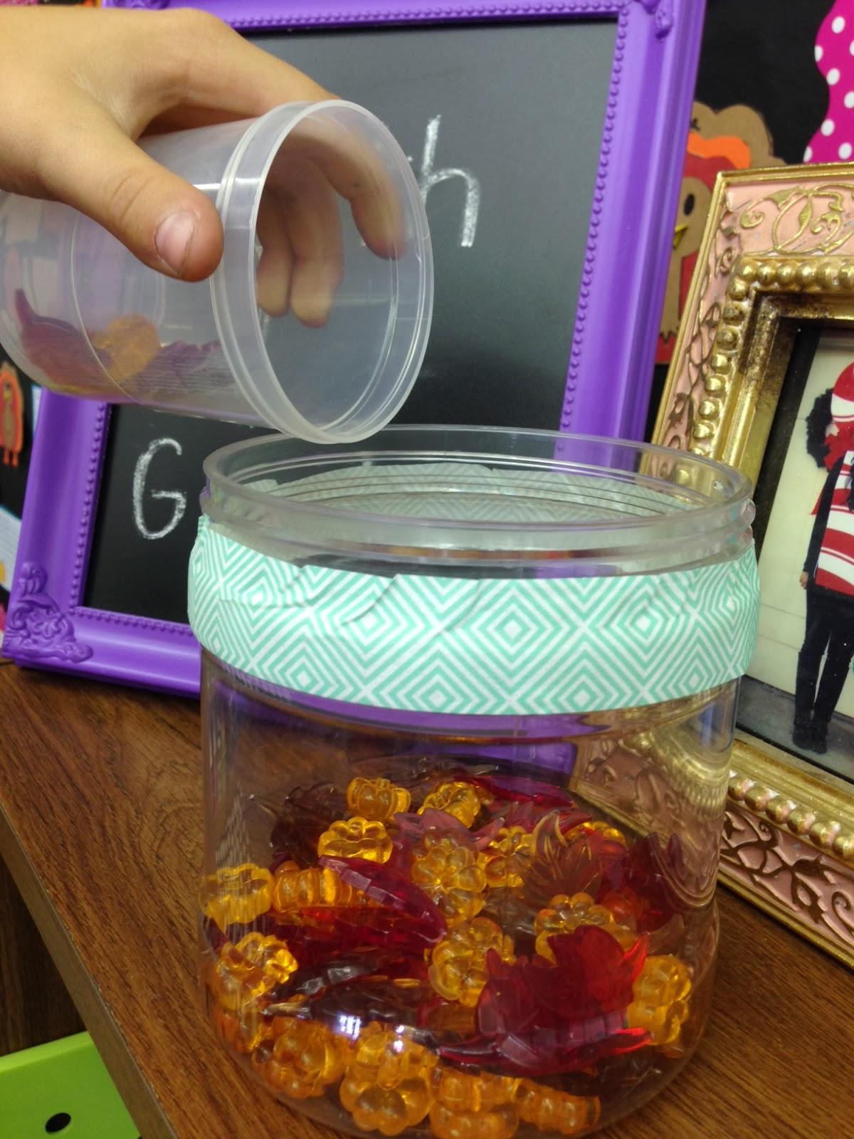 Classroom Marble Jar Ideas ~ Fall behavior management idea apples and abc s