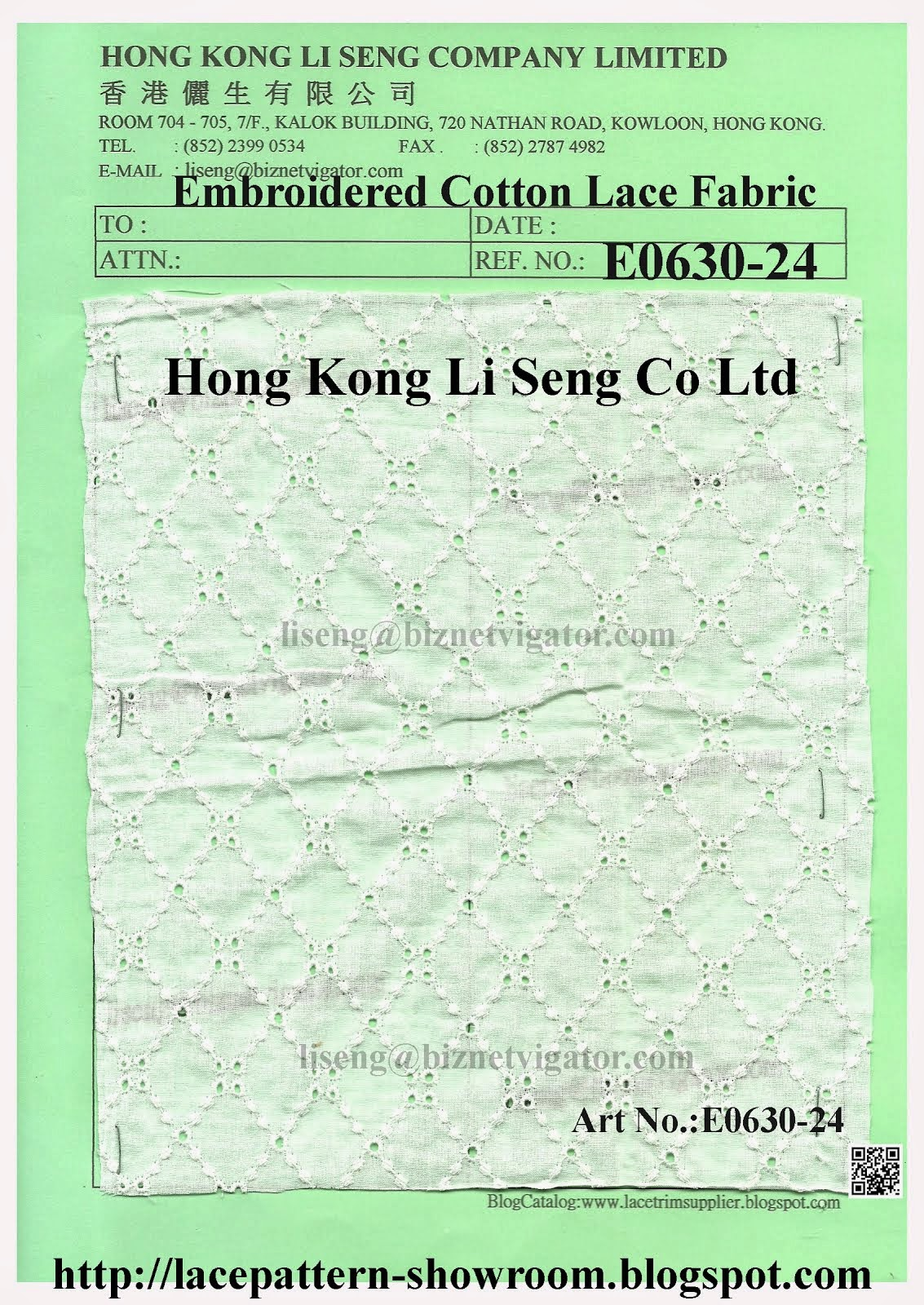 Embroidered Cotton Lace Fabric Manufacturer - Hong Kong Li Seng Co Ltd