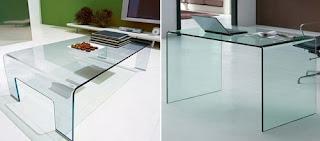 Ideias de decoração, Mesa de apoio em vidro, mesa de escritório em vidro, móvel de vidro