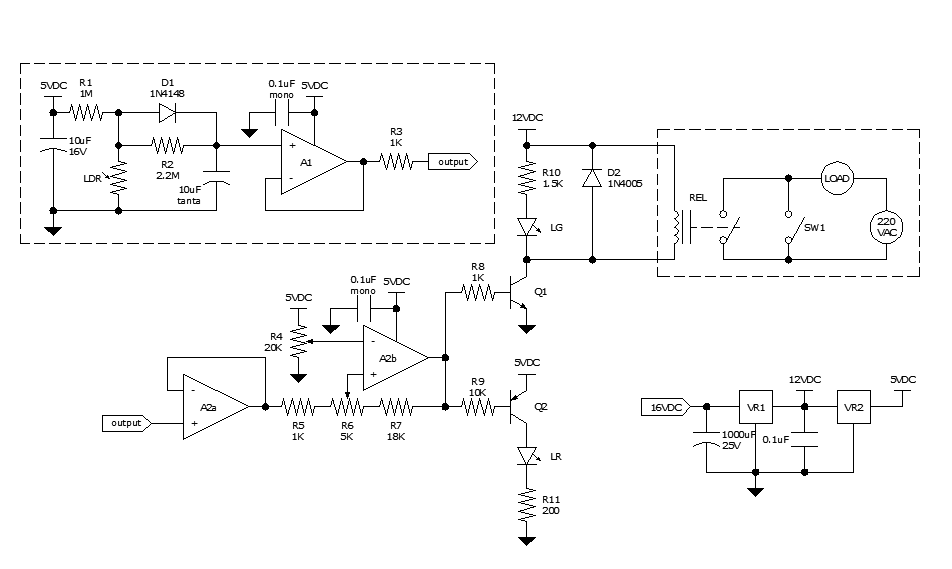 On the Drawing Board: All-analog automatic night light circuit