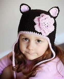 mũ len gấu cho bé gái