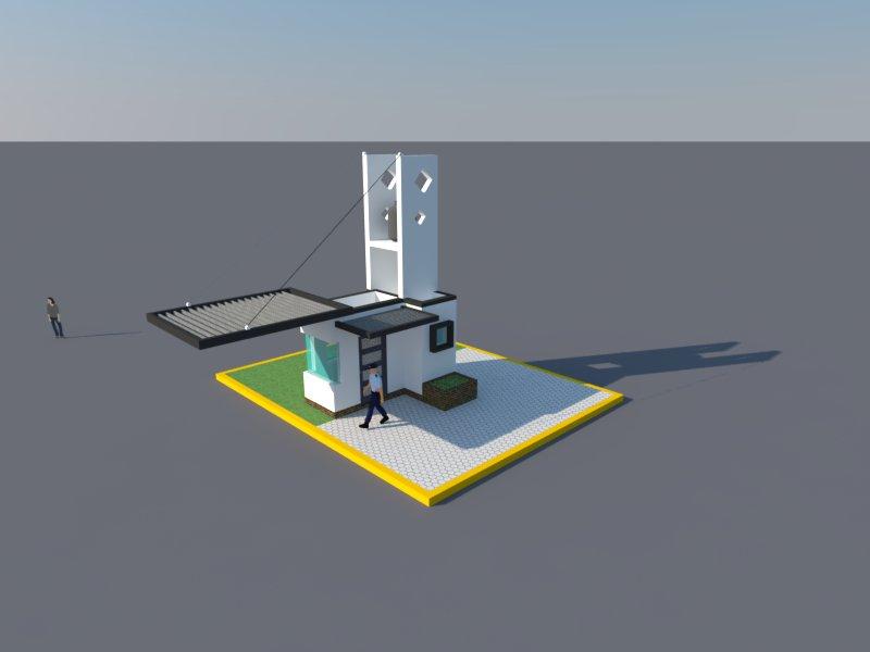 Alfonso ag tecnicas digitales renders caseta de vigilancia for Casetas de almacenaje para jardin