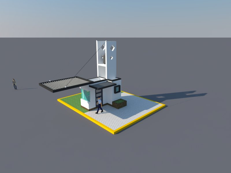 Alfonso ag tecnicas digitales renders caseta de vigilancia for Casetas de resina para jardin