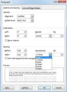 Cara mengatur spasi/jarak ketikan di word 2007
