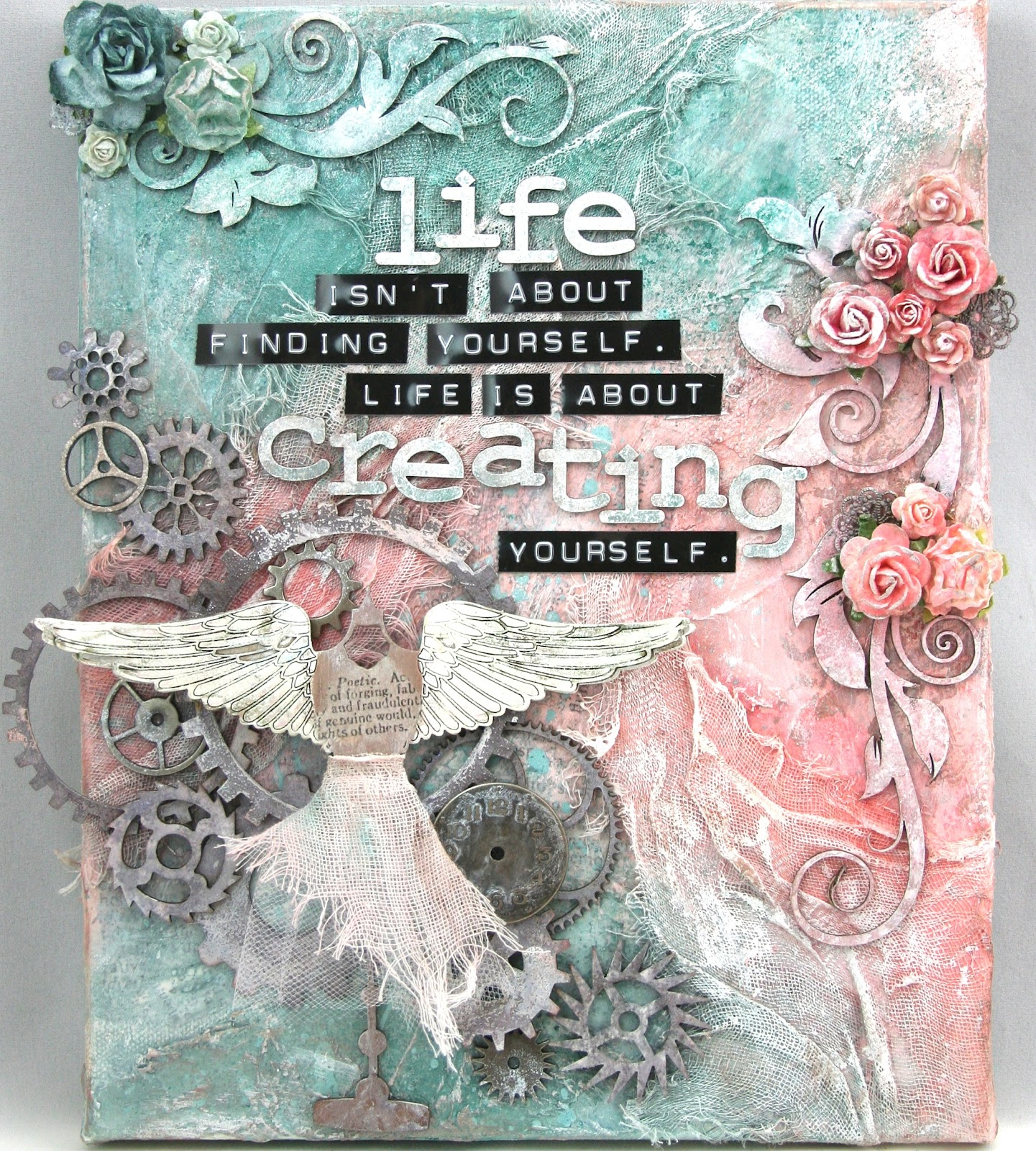 How to scrapbook canvas -  Creating Yourself Canvas
