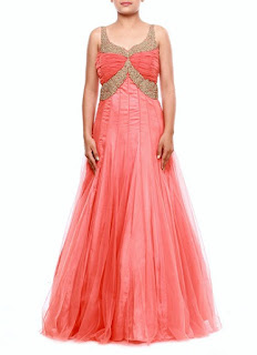 Zeeia Light Pink Net Anarkali Gown | Zeeia Peachish Pink Net Anarkali Gown