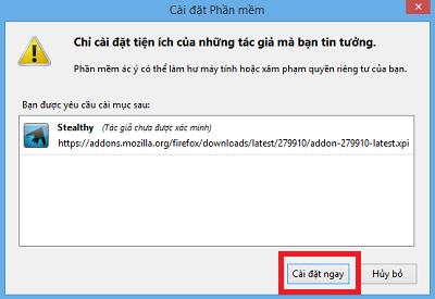 Xác nhận cài đặt add-on vào facebook Stealthy cho Firefox