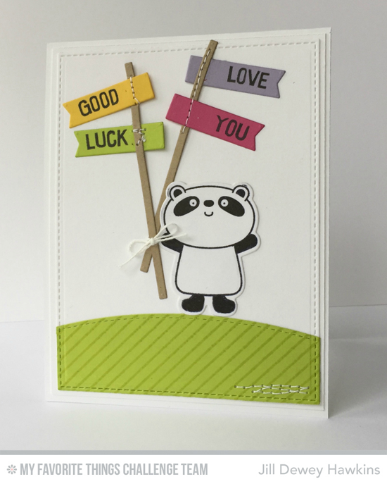 Good Luck Panda Card by Jill Dewey Hawkins featuring the Miss Tiina Happy Pandas stamp set and Die-namics #mftstamps