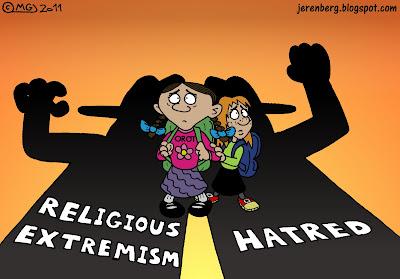 religious extremism hatred intolerance haredim chareidim orot banot girls school beit shemesh shadow two little schoolgirls