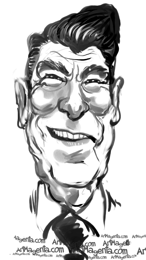 caricatures ronald reagan