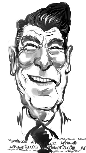 Ronald Reagan caricature cartoon. Portrait drawing by caricaturist Artmagenta