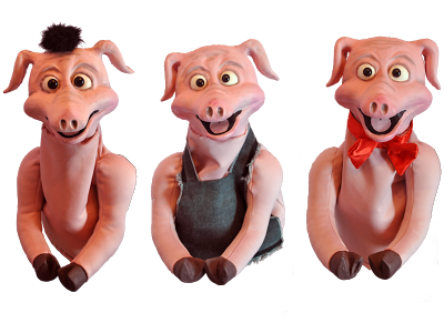 3 latex pig puppets